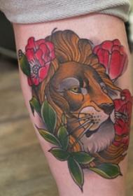狮子王纹身  女生小腿上彩绘的狮子王纹身图片