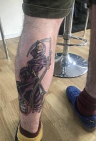死神镰刀纹身图案  男生小腿上死神和镰刀纹身图片