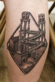 修建物纹身  女生小腿上黑灰的修建物纹身图片