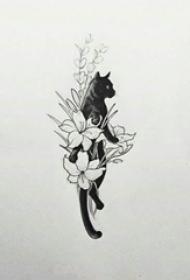 猫咪纹身手稿 小清爽的花朵和猫咪纹身手稿