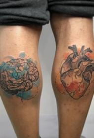 心脏纹身 男生小腿上心脏纹身图片