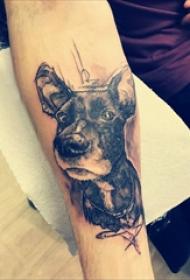 狗的纹身图案  男生小臂上黑灰色的小狗纹身图片