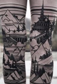 修建物纹身 女生小腿上黑色的修建物纹身图片