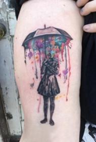 水彩纹身图片  女生大臂上彩绘的人物纹身图片