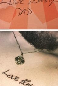纹身英文字体  男生胸上极简的英文纹身图片