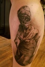 纹身木乃伊图片 男生小腿上恐怖的木乃伊纹身图片