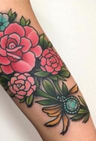玫瑰紋身 多款小清新文藝紋身素描玫瑰紋身圖案