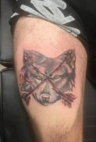 滴血狼頭紋身  男生大腿上狼頭和箭紋身圖片