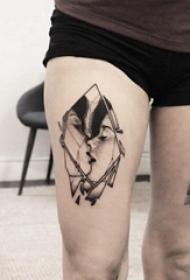 纹身头像情侣 男生大腿上几何和情侣人物纹身图片