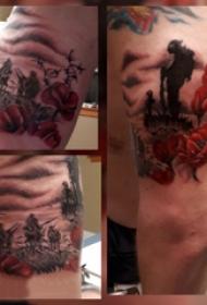 罂粟纹身  男生大臂上彩绘的罂粟纹身图片
