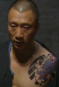 孙红雷纹身图案  明星肩部彩绘的龙纹身图片