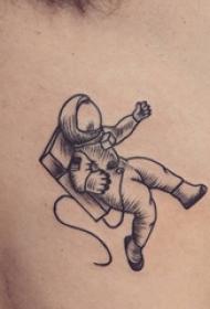宇航员纹身图案   男生侧腰上极简的宇航员纹身图片