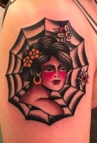 蜘蛛网纹身图案  女内行臂上人物和蜘蛛网纹身图片