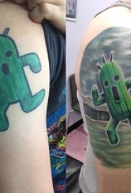 仙人掌纹身 男生大臂上活泼的仙人掌纹身图片