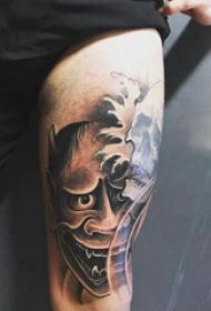 般若面具纹身 男生大腿上骷髅和般若纹身图片