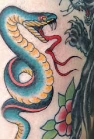 蛇和花朵纹身图案  女生大腿上蛇和花纹身图片