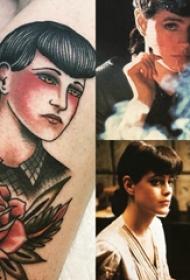女孩人物纹身图案  女生小腿上彩绘的女孩人物纹身图片