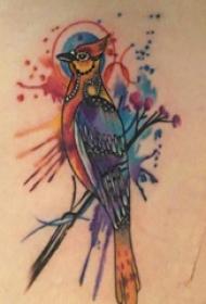 大年夜腿纹身传统 女生大年夜腿上植物和鸟纹身图片