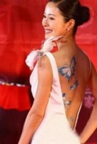 中国纹身明星  明星后背上唯美的蝴蝶纹身图片