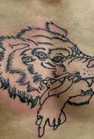 滴血狼頭紋身  男生胸部黑色的狼頭紋身圖片
