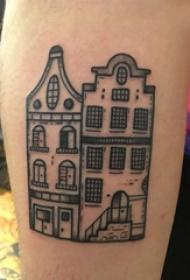 歐美小腿紋身 男生小腿上黑色的別墅紋身圖片