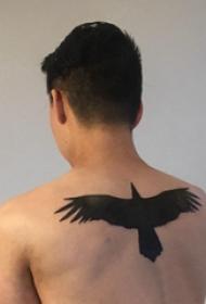 植物纹身轮廓 男生后背上黑色的老鹰纹身图片