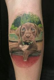狗的纹身图案 男生小腿上超写实的小狗纹身图片