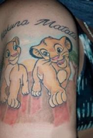 卡通狮子纹身图案  女生小腿上彩绘?#30446;?#36890;狮子纹身图片