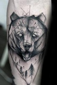 熊紋身 簡約而又設計感十足的熊紋身圖案