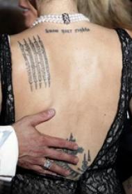 泰国法力纹身  明星后背上黑色的泰国法力纹身图片