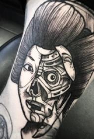人物肖像纹身 男生手臂上黑色的人物纹身图片
