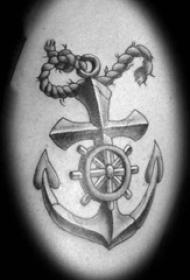 歐美船錨紋身  寫實風格的歐美船錨紋身圖案