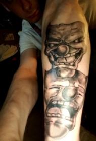 纹身小丑面具 男生手臂上可笑的小丑面具纹身图片