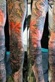 楓葉紋身圖  創意多彩的楓葉紋身圖案