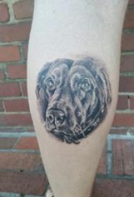 欧美小腿纹身 男生小腿上黑色的小狗纹身图片