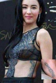张柏芝的纹身  明星侧腰上黑色的羽毛纹身图片