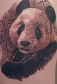 熊猫纹身图 女生大年夜腿上黑色的熊猫纹身图片