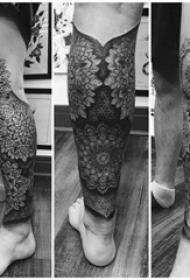 纹身黑色 男生小腿上黑色的梵花纹身图片