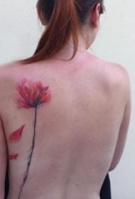 纹身后背图案女  唯美时尚的后背纹身图案