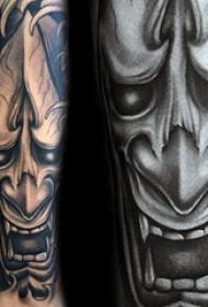 般若面具纹身  多款色调暗沉的般若面具纹身图案