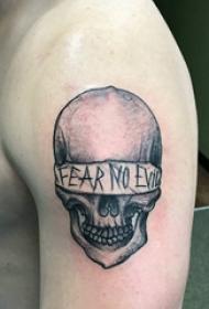 大臂纹身图片 男生大臂上蒙面的骷髅纹身图片