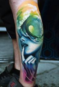 欧美小腿纹身 男生小腿上黑色的女生人物纹身图片