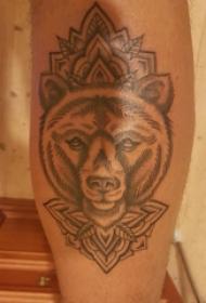 狼头纹身图片 男生小腿上植物和狼头纹身图片