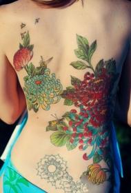 纹身菊花图案   风格各异的菊花纹身图案