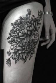 纹身菊花图案   绚丽绽放的菊花纹身图案