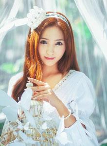 室外小樹林純白長裙唯美仙子性感寫真