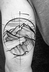 山脉纹身  几何设计感的山脉纹身图案