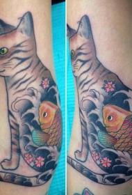 小猫咪纹身  多款设计风格各别的小猫咪纹身图案