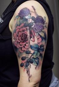 纹身菊花图案    肆意绽放的菊花纹身图案