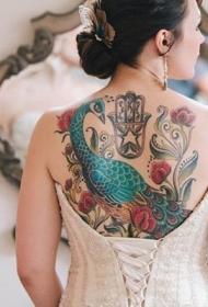 孔雀纹身图片   五光十色的孔雀纹身图案